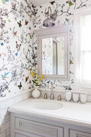 bathroom wallpaper designs home tour a youthful whimsical l a home floral arrangement