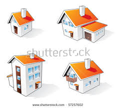 different house types four different houses vector icons illustration stock vector