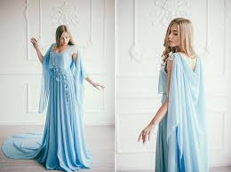 blue chiffon wedding dress with a cape serenity