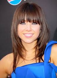 dark brown long hairstyles for round faces with side bangs 2017