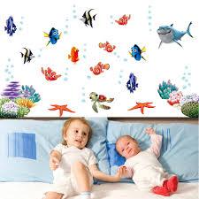 online get cheap ocean child aliexpress com alibaba group underwater world sea various shark fish ocean cartoon diy wall stickers wallpaper art decor mural kids