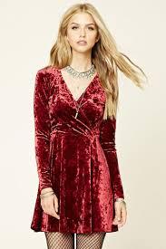 forever 21 crushed velvet skater dress in red lyst
