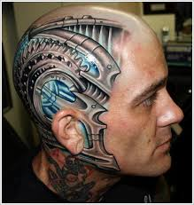 3d biomechanical tattoo design for men on head biomechanical