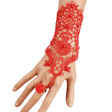 bridal bracelet with ring images Fashion gothic red lace beaded bracelets ring set graceful long jpg