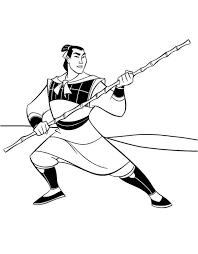li shang mulan captain army coloring li shang mulan