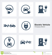 electric vehicles symbol electric vehicle charging station icons set stock vector image