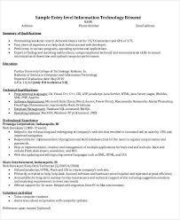 resume format information technology information technology resume template resume sle