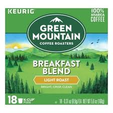 keurig k cups light roast green mountain breakfast blend light roast coffee k cup pods