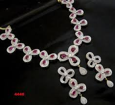 zircon necklace set images Designer cubic zirconia necklace set at rs 4440 piece necklace jpg