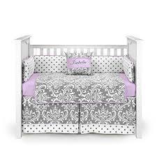 Lilac Damask Crib Bedding Damask Polkadot Gray Baby Bedding Set Lilac Baby