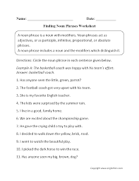 finding noun phrases worksheets e pinterest worksheets