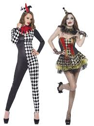 Womens Joker Halloween Costume Ladies Zombie Clown Harlequin Jester Halloween Costume Womens