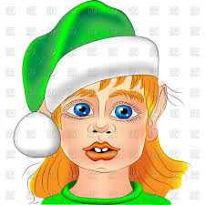 christmas elf portrait close up with big blue eyes in the green