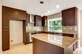 modern kitchen with brown cabinets modern kitchen room with matte brown cabinets shiny granite tops