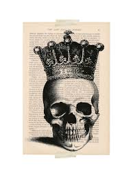 halloween decorations dictionary art print skull with crown