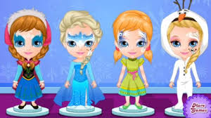 baby barbie frozen face painting play game