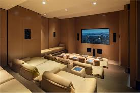 Home Theater Design Nyc Modern Home Theater With High Ceiling U0026 Carpet In New York Ny
