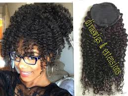 Online Clip In Hair Extensions by Brazilian Ponytail Curly Clip In Ponytails Human Hair