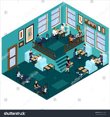 isometric cafe blue cafe isometric interior stock vector 569111221
