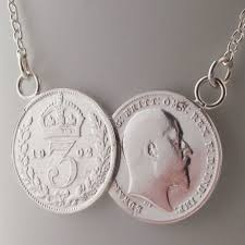 silver coin pendant necklace images Sterling silver double old coin pendant necklace 2 coin perfect jpg