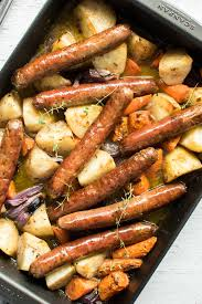 Roasted Vegetable Recipes by One Pan Baked Sausage And Vegetables With Gravy Recipetin Eats