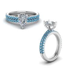 bridal sets rings blue topaz prong pear shaped diamond bridal set in 18k