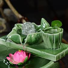 celadon water fountain lucky feng shui home decor gifts round