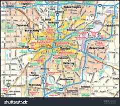 dayton map dayton ohio area map stock vector 144155629