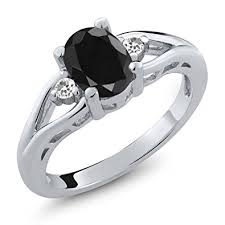 black sapphire engagement rings 1 70 ct oval black sapphire and white sapphire 925