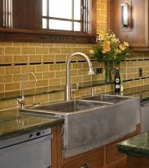 Copper Kitchen Backsplash Ideas Cream Subway Tile Backsplash Granite Counter Tops And Cream