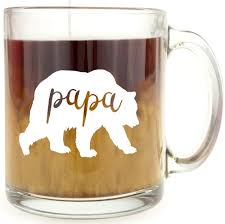 Funny Coffee Mugs by Amazon Com Papa Bear Glass Coffee Mug Makes A Great Gift For