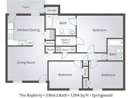 2 Bedroom Flat Floor Plan 3 Bedroom Apartment Floor Plans U0026 Pricing U2013 Springwood Townhomes