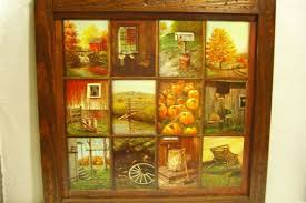 vintage homco home interior b mitchell window pane picture b