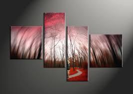 4 piece red canvas modern forest autumn sky art