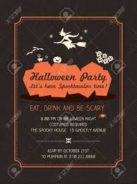 halloween party vintage postcard invitation funny stock vector