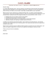 leading professional data entry clerk cover letter examples