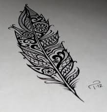 tribal black ink owl feather design