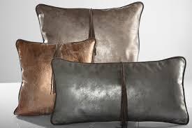 leather throw pillow cushion antique matte copper beige home decor