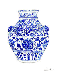blue and white painting blue and white ginger jar chinoiserie 4 painting by laura row
