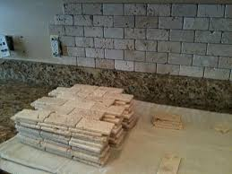 Kitchen Backsplash Installation by Tumble Travertine Backsplash 2x4 Tumbled Brick Chiaro Travertine