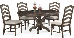 charleston round dining table and 4 side chairs gray american