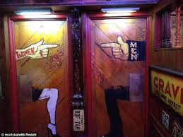 Cow And Chicken The Girls Bathroom Best Bathroom Signs From Around The World Daily Mail Online