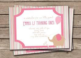 pink birthday invitations elephant birthday invitation little peanut baby elephant first