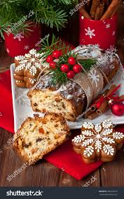 traditional stollen dried fruits nuts stock photo