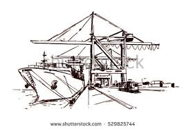 large quay cranes container ship sketch stock vector 529825744