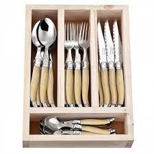 laguiole kitchen knives laguiole jean neron cutlery set 24 piece light horn for 199 95