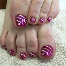 cool striped toe nail art design blue white pink color also a