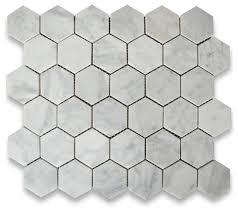 10 75 x11 875 carrara white hexagon mosaic tile honed chip size