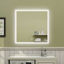 slim wall mounted kitchen cabinet 35 x 35 inch anti fog led bathroom mirror backlit dimmable slim waterproof ip44 both vertical and horizontal wall mounted way
