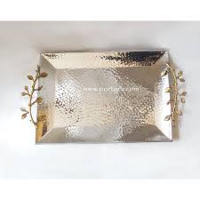 wedding tray hammered stainless steel wedding tray with artistic golden handles